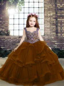 Tulle Sleeveless Pageant Gowns For Girls and Beading
