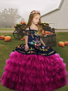 Organza Sleeveless Floor Length Child Pageant Dress and Embroidery and Ruffles