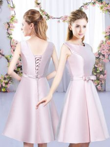 Customized Scoop Sleeveless Quinceanera Court Dresses Mini Length Bowknot Baby Pink Satin