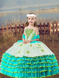 Nice Floor Length Aqua Blue Little Girls Pageant Gowns Straps Sleeveless Lace Up