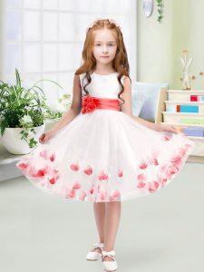 A-line Flower Girl Dresses White Scoop Tulle Sleeveless Knee Length Zipper