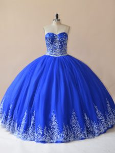 Sleeveless Floor Length Embroidery Lace Up Quinceanera Gowns with Royal Blue