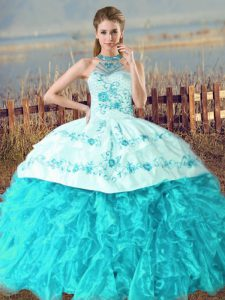 Customized Aqua Blue Quinceanera Dresses Organza Court Train Sleeveless Embroidery and Ruffles