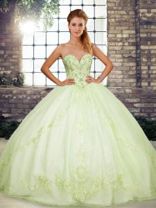 Fashionable Sweetheart Sleeveless Tulle Quinceanera Gown Beading and Embroidery Lace Up