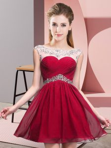 A-line Red Scoop Chiffon Sleeveless Mini Length Backless