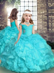 Perfect Aqua Blue Sleeveless Organza Lace Up Child Pageant Dress for Party and Sweet 16 and Wedding Party