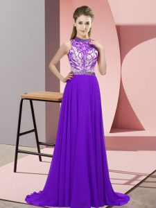 Fine Halter Top Sleeveless Brush Train Backless Prom Dresses Purple Chiffon