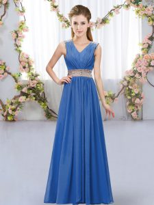 Artistic Blue Sleeveless Floor Length Beading and Belt Lace Up Bridesmaid Dresses