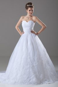 White Tulle Lace Up Bridal Gown Sleeveless Brush Train Beading and Lace