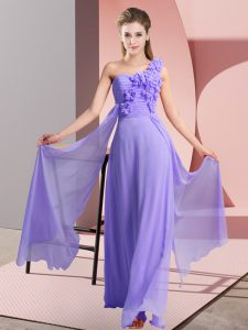 Sleeveless Floor Length Hand Made Flower Lace Up Bridesmaid Gown with Lavender