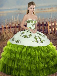 Sleeveless Organza Floor Length Lace Up 15th Birthday Dress in Olive Green with Embroidery and Ruffled Layers and Bowkno