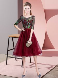 Artistic Burgundy Lace Up Quinceanera Court of Honor Dress Embroidery Half Sleeves Knee Length