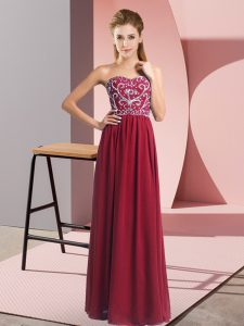Sleeveless Chiffon Floor Length Lace Up Prom Gown in Wine Red with Beading