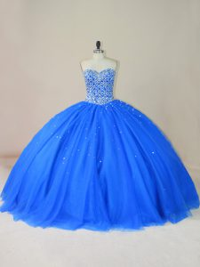 Tulle Sweetheart Sleeveless Lace Up Beading 15 Quinceanera Dress in Blue