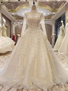 White Lace Up Bridal Gown Appliques Long Sleeves Court Train