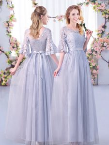 Grey Empire Scoop Half Sleeves Tulle Floor Length Side Zipper Lace and Belt Wedding Party Dress