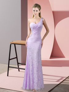 Ideal Floor Length Criss Cross Dress for Prom Lavender for Prom and Party with Beading and Lace