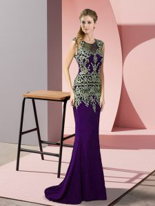 Custom Fit Purple Prom Dresses Satin Sweep Train Sleeveless Appliques