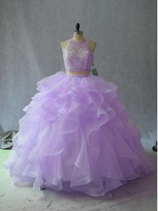 Halter Top Sleeveless Quince Ball Gowns Beading and Ruffles Lavender Organza