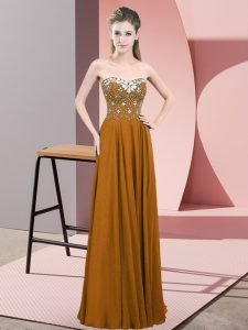 Sleeveless Floor Length Beading Zipper Prom Evening Gown with Brown