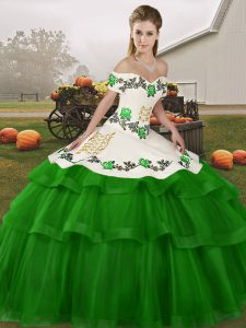 Noble Green Lace Up 15th Birthday Dress Embroidery and Ruffled Layers Sleeveless Brush Train
