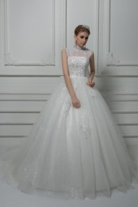 Comfortable White High-neck Neckline Beading and Lace and Bowknot Wedding Dresses Sleeveless Lace Up
