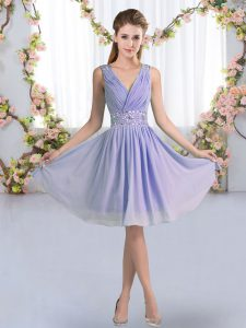 Knee Length Zipper Court Dresses for Sweet 16 Lavender for Wedding Party with Beading
