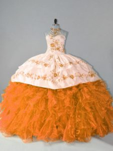 Court Train Ball Gowns Quinceanera Gown Orange Halter Top Organza Sleeveless Floor Length Lace Up