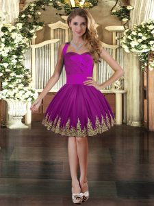 Modern Purple Sleeveless Embroidery Mini Length Prom Evening Gown