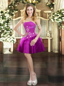 Fuchsia Strapless Lace Up Beading and Ruffled Layers Prom Evening Gown Sleeveless