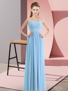 Customized Blue Empire Beading Zipper Chiffon Sleeveless Floor Length