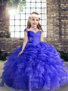Floor Length Lace Up Child Pageant Dress Blue for Party and Wedding Party with Beading and Ruffles