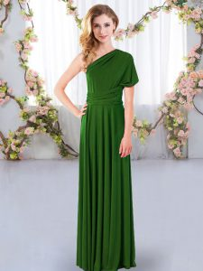 High Quality Green Chiffon Criss Cross Wedding Guest Dresses Sleeveless Floor Length Ruching