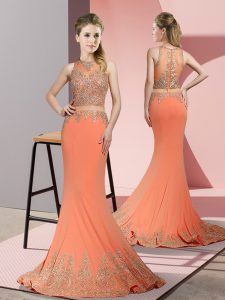 Attractive Orange Red Sleeveless Beading and Appliques Zipper Evening Dress