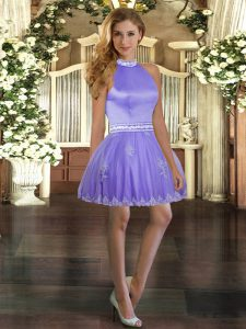 Lavender Sleeveless Beading and Appliques Mini Length Prom Evening Gown
