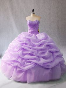 Floor Length Lavender Quinceanera Dresses Organza Sleeveless Beading and Pick Ups