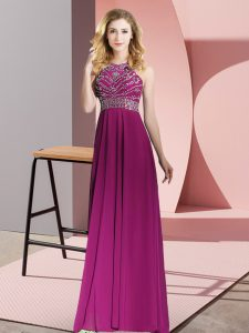 Beading Prom Dress Fuchsia Backless Sleeveless Floor Length