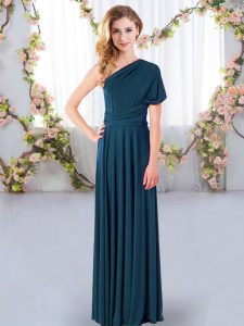 Pretty Sleeveless Criss Cross Floor Length Ruching Wedding Guest Dresses