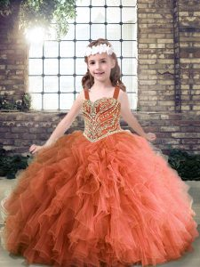 Rust Red Straps Neckline Beading and Ruffles Kids Formal Wear Sleeveless Lace Up