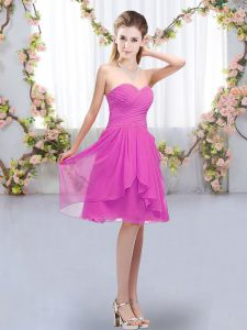 Chiffon Sleeveless Knee Length Bridesmaids Dress and Ruffles and Ruching