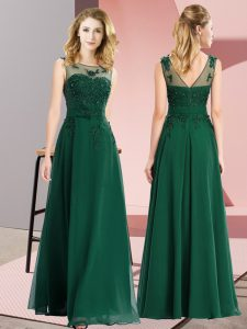 Sophisticated Sleeveless Floor Length Beading and Appliques Zipper Quinceanera Court Dresses with Dark Green