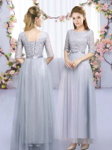 Luxurious Empire Dama Dress Grey Scoop Tulle Half Sleeves Floor Length Lace Up