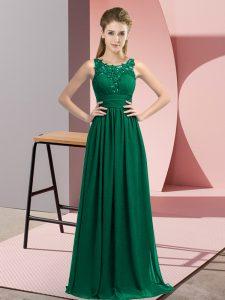 Floor Length Peacock Green Bridesmaid Dress Scoop Sleeveless Zipper