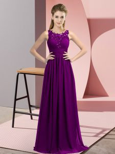 Noble Purple Sleeveless Chiffon Zipper Wedding Party Dress for Wedding Party