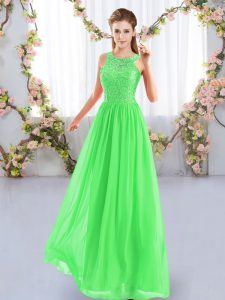 Sleeveless Chiffon Floor Length Zipper Bridesmaid Gown in with Lace