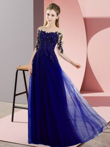 Blue Half Sleeves Beading and Lace Floor Length Wedding Guest Dresses