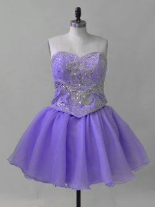 Lavender Sleeveless Organza Lace Up Evening Dress for Prom and Party and Military Ball