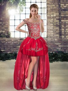 High Low A-line Sleeveless Red Prom Party Dress Lace Up