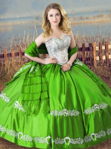 Best Selling Sleeveless Satin Floor Length Lace Up Sweet 16 Dress in Green with Beading and Embroidery