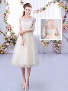 Hot Sale Tea Length Lace Up Dama Dress for Quinceanera Champagne for Wedding Party with Lace